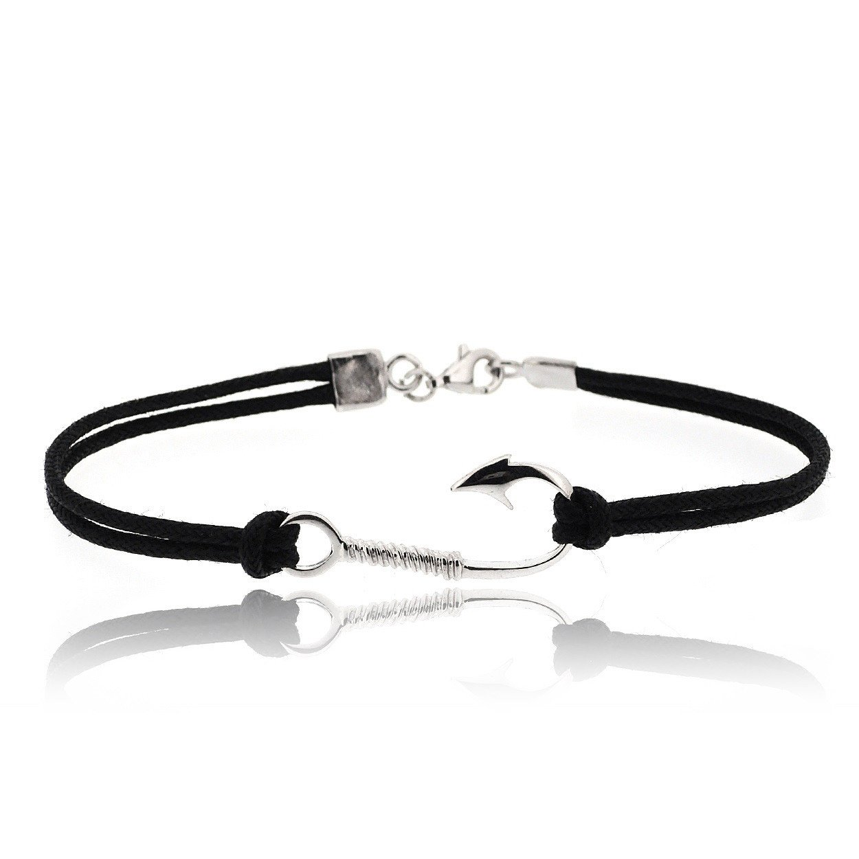 Sovats Hook 925 Sterling Silver Rhodium Plated Charms With Black Cord Bracelet For Men - Simple, Stylish & Trendy Nickel Free Bracelet Size 7.5 East India 795_eb0142._us (7.5)