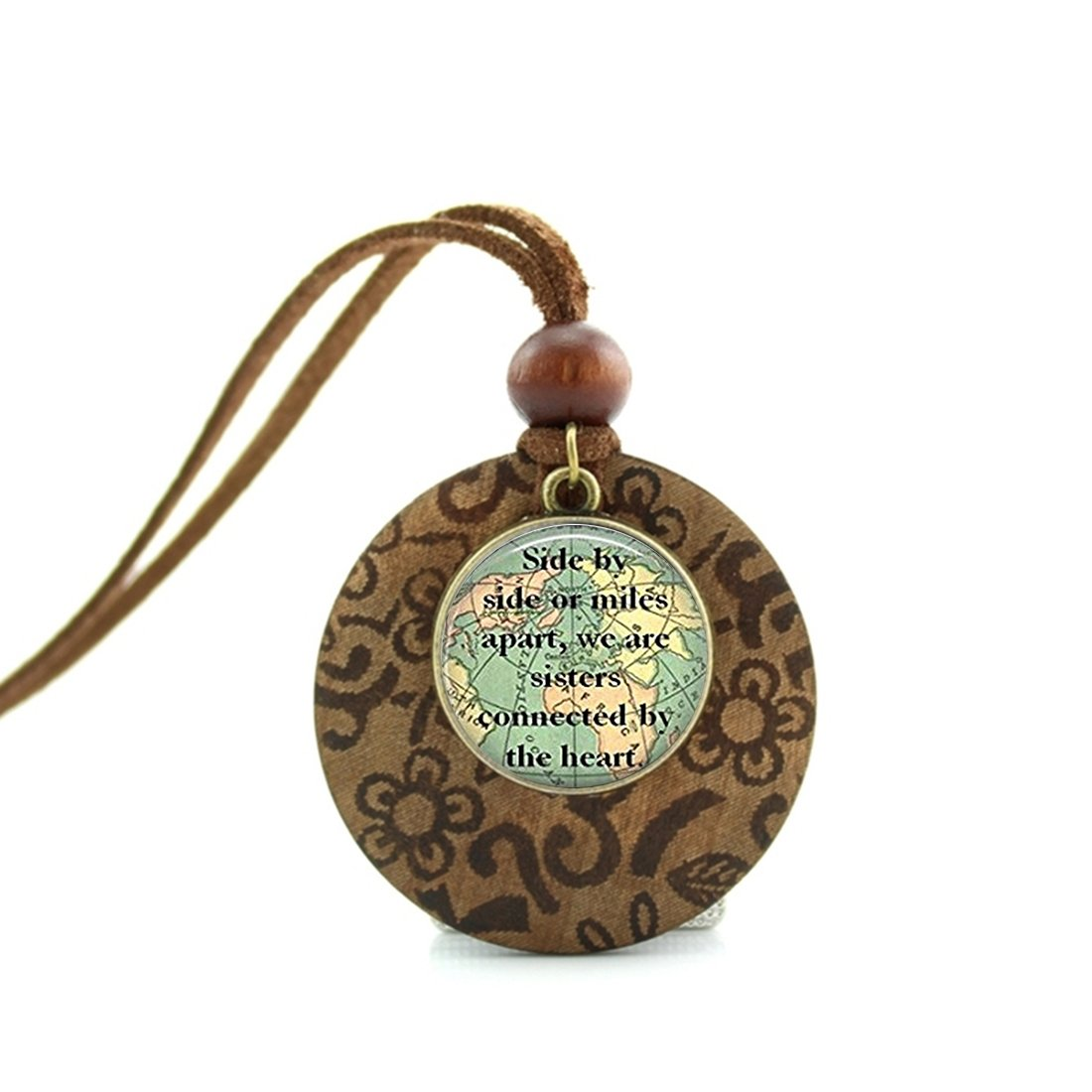 Handmade Wooden Base Necklace Round Pendant Decoration Vintage Long Leather Chain - Sister Map Travel World Map