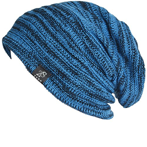Vintage Men Baggy Beanie Slouchy Knit Skull Cap Hat (Bright blue)