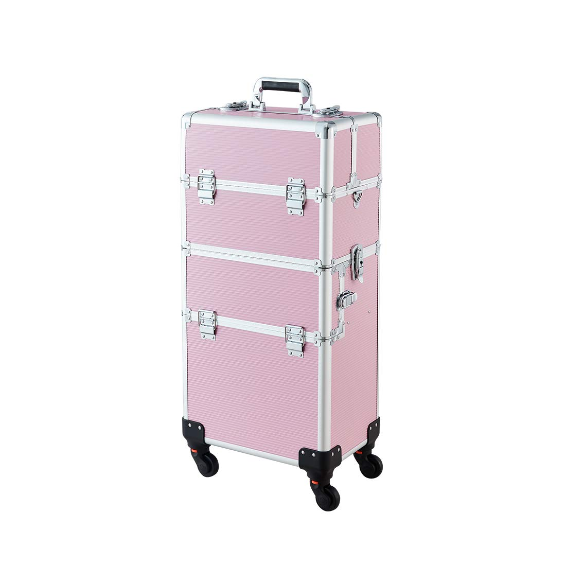 Makeup Case - 3 In 1 Aluminum Professional Rolling Cosmetics Storage Organizer With Locks and Folding Trays Pink