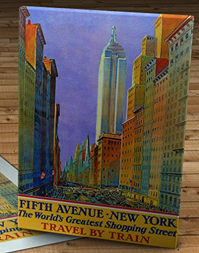 1932 Vintage Fifth Avenue - New York - Travel by Train - Travel Poster - Canvas Gallery Wrap - 12 x - The Avenue Manhattan Americas Of