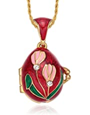 """Tf Charms Lily of The Valley Flower Royal Russian Egg Pendant Necklace 18"""" with Heart Charm Suprise Inside"""