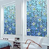 (0.9M X 2M) DuoFire Decorative Repositionable Stained Non-adhesive Privacy Glass Window Film DKP107