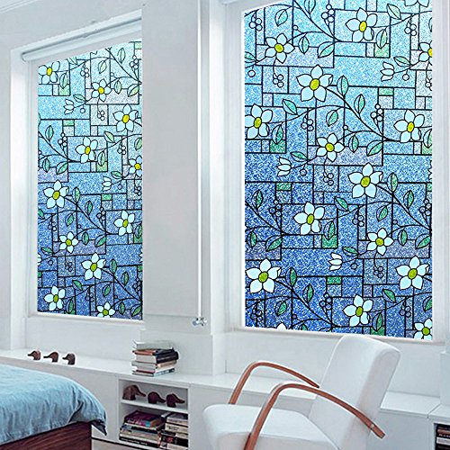 DuoFire Stained Privacy Glass Film Non-adhesive Static Cling Window Film KP107(35.5 x 78.7 Inch)