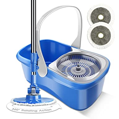Easy Spin Mop And Bucket With 2 Microfiber Mop Heads Floor Cleaning