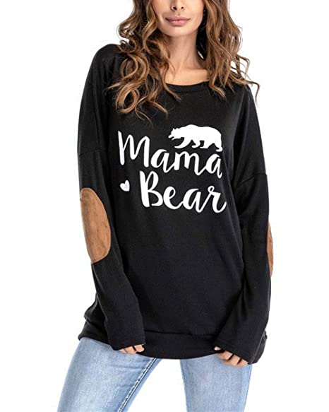 skilful manufacture 60% discount enjoy complimentary shipping Womens Mama Bear Shirt Long Sleeve Crewneck Elbow Patches Sweatshirt  T-Shirts Tops Loose Blouse