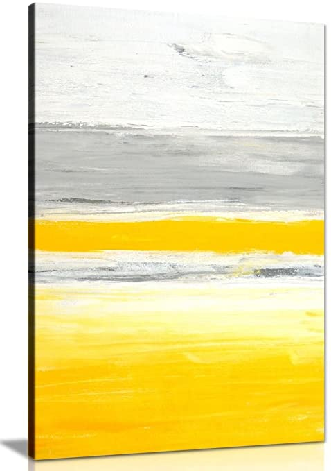 Stylish Trendy Abstract Yellow Grey Home Office Painting Canvas Wall ...