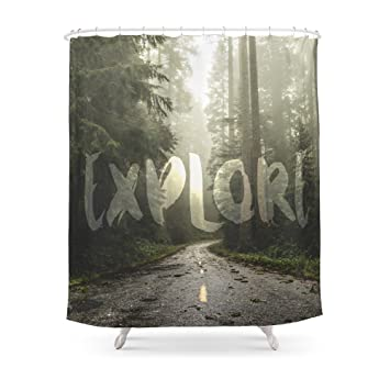 Society6 EXPLORE Wanderlust Road Trip Shower Curtain 71quot