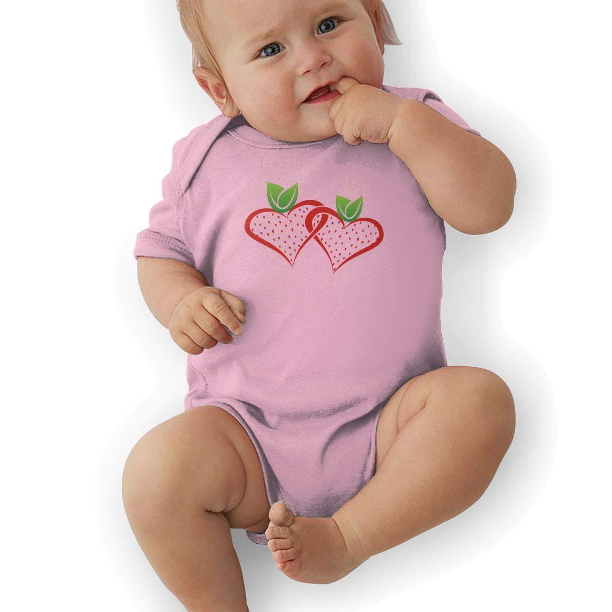 Infant Baby Boys Bodysuit Short-Sleeve Onesie Strawberry Print Rompers Autumn Pajamas