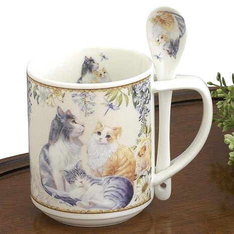 Bits y piezas – 10 oz taza de gato con cuchara de café – café y