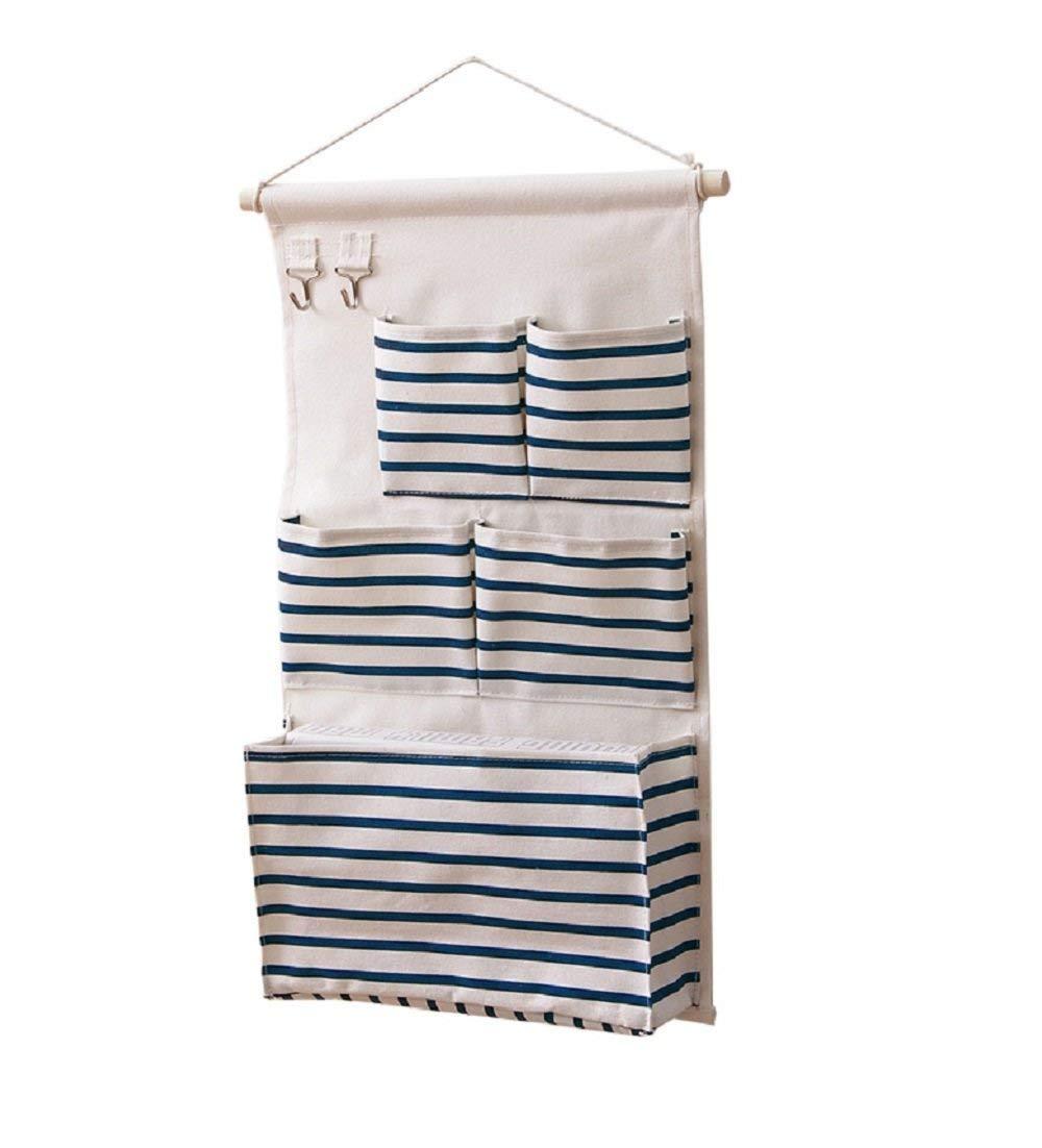 Ebeta Hanging Organizer Porta Muro Organizzatore Tasca porta Sacca portaoggetti appesa per il bagno di guardaroba dingresso 5 grande Tasca con 2 ganci chiave