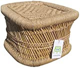 Ecowoodies Babiana Handicraft Cane / Wooden High Chair Indoor/Outdoor Balcony Terrace Garden Lawn Bar Sitting Stool Chair (Beige)