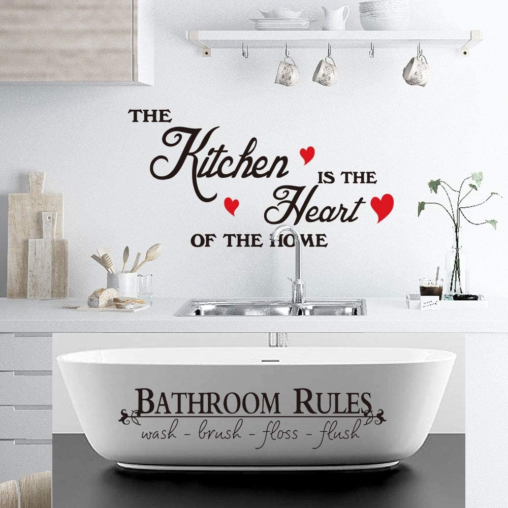 Wall Stickers Kitchen is The Heart of Home Kitchen Gadgets Lovely Bathroom Wall Decals Rules Toilet Kids Vinyl PVC Window Nursery Babies Boy Baby Cute Design Girls Decor Adhesive Art Decoration