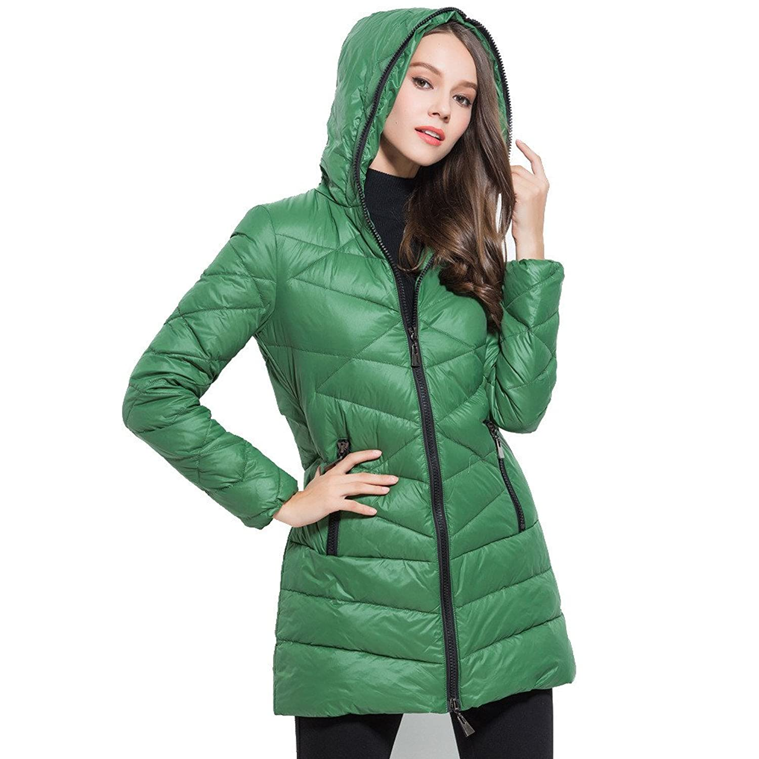 Women's down jacket women's long section of thin winter feather padded
