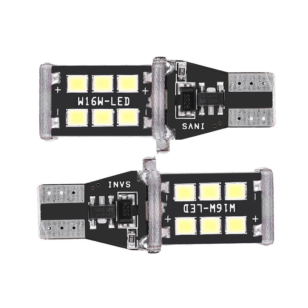Qiilu Paire Universel Canbus T15 W16W 2835 Blanc LED Voiture Clignotant Signal De Frein Lumiè re De Recul Lampe