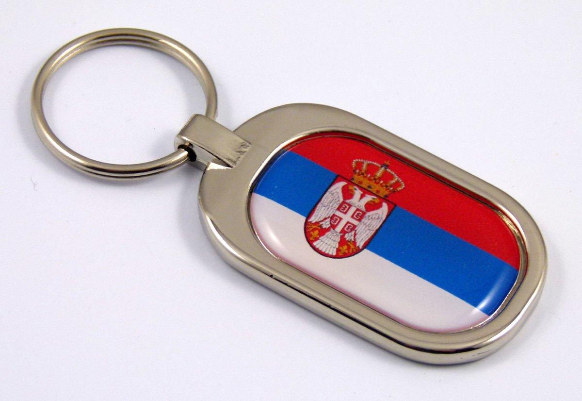 Serbia Flag Key Chain Metal Chrome Plated Keychain Key fob keyfob Serbian