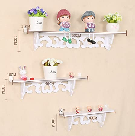 Set Of 3 Shabby Chic Style Floating Wall Shelves Bookshelf White Wall  Mounted Decorative Display Wall