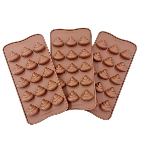 3pc Cute Funny Poop Emoji Candy Molds, Chocolate Molds, Silicone Molds,  Soap Molds, Silicone Baking Molds Smile stool Ice Cube Candy Dessert Jello