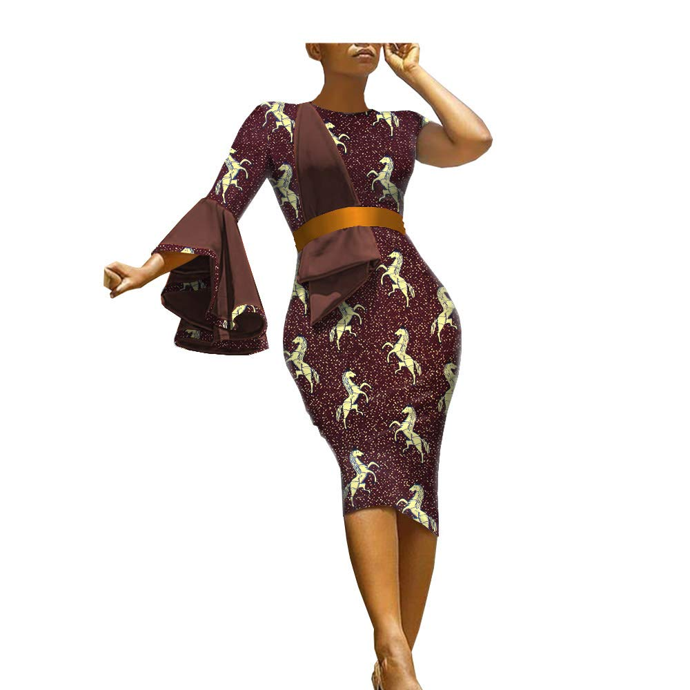 3095j African Ankara Print Women Dress Sashes Single Flare Sleeve Knee Length 100% Batik Cotton Made AA1825089A