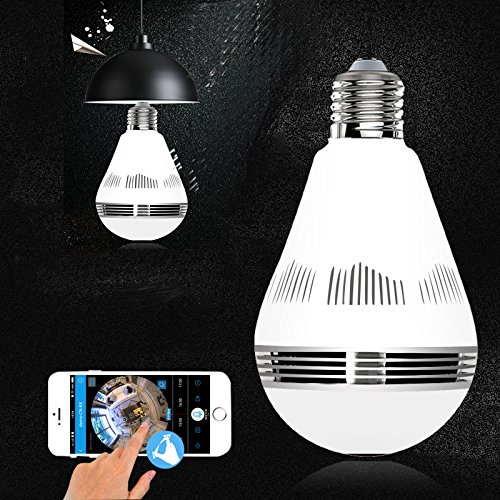 1080p E26 Camera Bulb VR Panoramic Bulb, Light Bulb with 360 Degree Fisheye Lens Wireless Wifi Camera hidden cameras for home Led Lights Bulb for Home Security System Camera Android IOS APP White