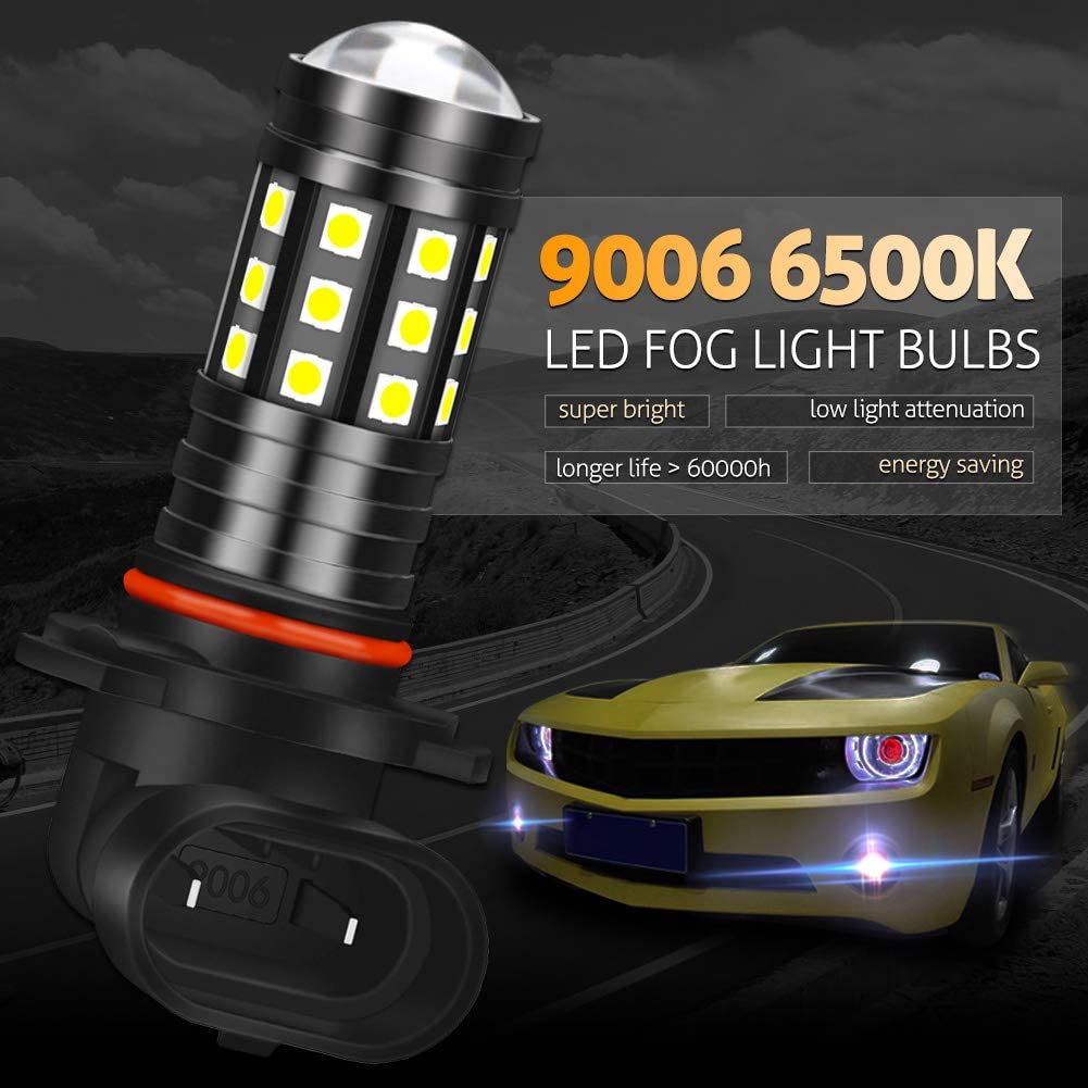 Pack of 2 KATUR 9005 HB3 LED Fog Light Bulbs High Power 3030 Chips Super Bright 2700 Lumens with Projector for Driving Daytime Running Lights DRL or Fog Lights,6500K Xenon White