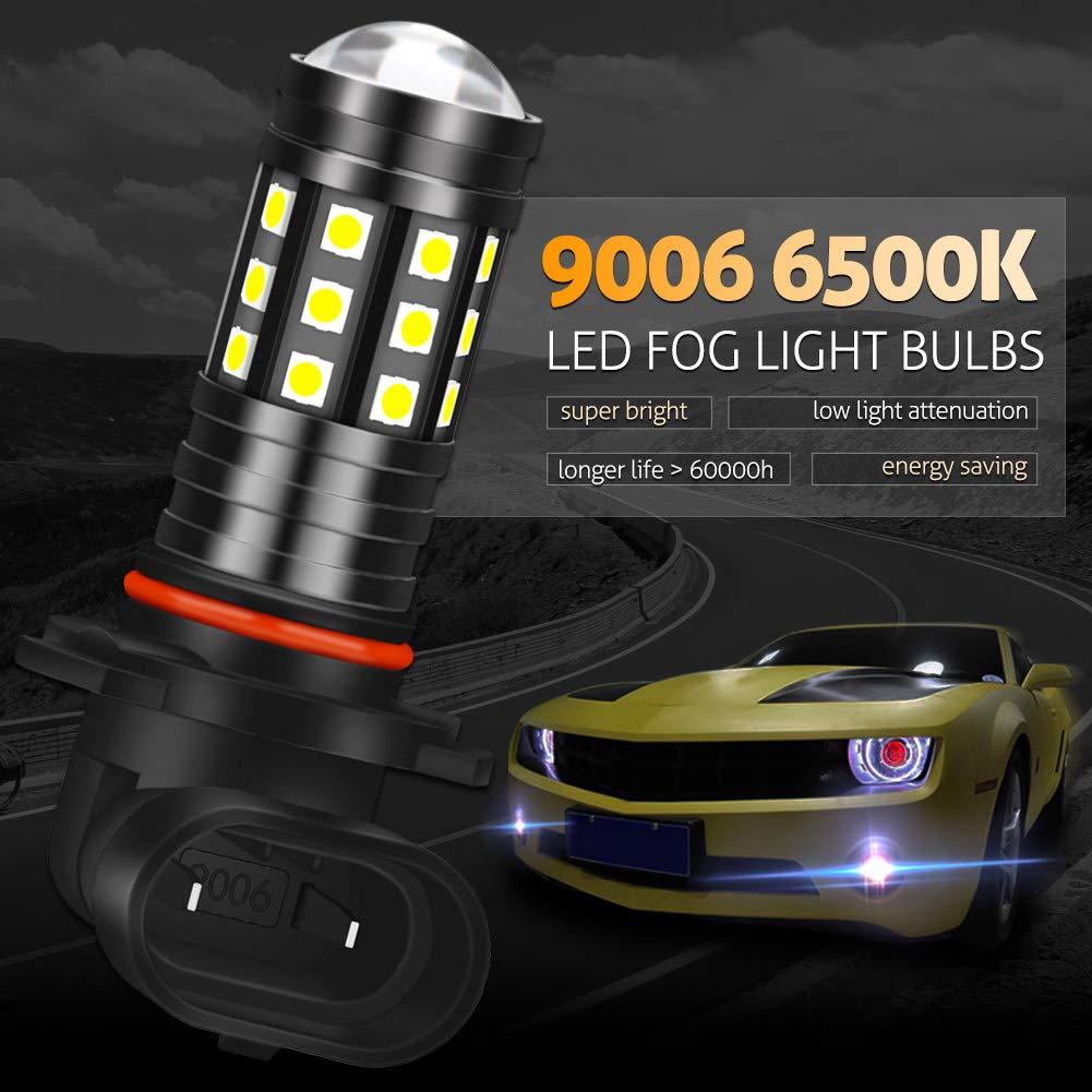 KaTur Extremely Bright 2700 Lumens 3030 27SMD H8 H11 H9 Lens Fog Lights DRL Bulbs Day Running Light Lamp 12V-24V White 6000K Pack of 2