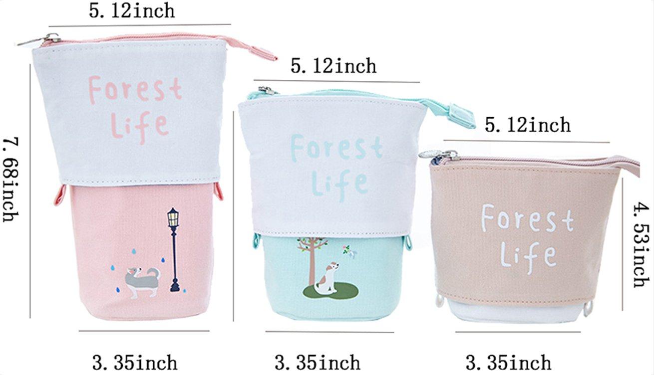Lapicero vertical iSuperb de lona, organizador adorable para pinceles de maquillaje, bolsa de almacenamiento 19,5 x 8,5 x 13 cm, color caqui: Amazon.es: ...