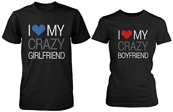 fe99add6 His and Hers Matching Couple Shirts - I Love My Crazy Boyfriend and  Girlfriend (LEFT