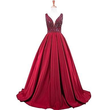 Weierxi Gorgeous Burgundy Beaded Backless Women Prom Dress Formal Evening Gowns (US 2)