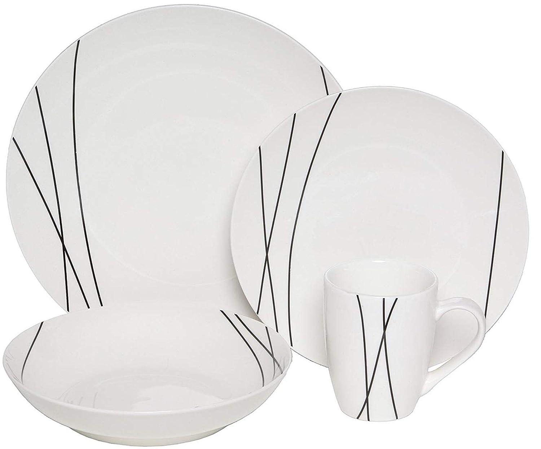 Melange Coupe 16 Piece Porcelain Dinner Set (Black Lines)| Service for 4 | Microwave, Dishwasher & Oven Safe | Dinner Plate, Salad Plate, Soup Bowl & Mug (4 Each)