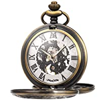 Mechanical Roman Numerals Dial Skeleton Pocket Watches with Box and Chains for Mens Women