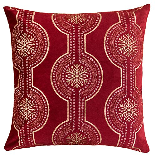 Homey Cozy Embroidery Red Velvet Throw Pillow Cover, Merry Christmas Series Snowflake Drop Luxury Soft Fuzzy Cozy Warm Slik Gift Square Couch Cushion Pillow Case 20 x 20 Inch, Cover Only