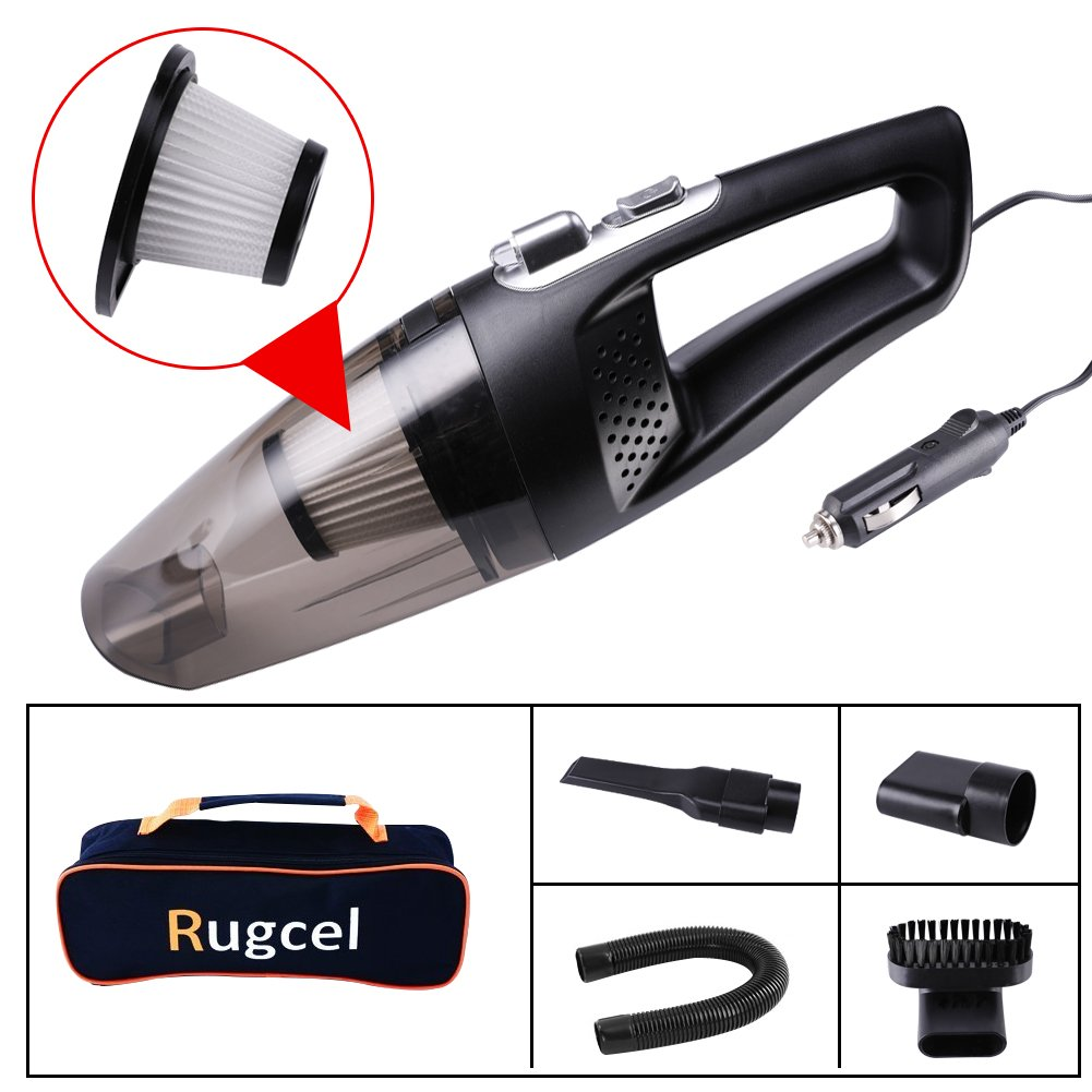 RUGCEL 12V Potable Handheld Car Vacuum Cleaner with Carrying Bag, LED Light, Multifunctional Auto Vacuum Cleaner, Black and White FUMAO