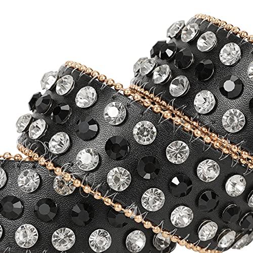 Women Rhinestones Leather Belt Bling Cowgirl Western Studded Waist Belt for Jeans Pants,Black,S