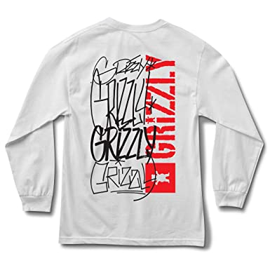 """f3296a22 Image Unavailable. Image not available for. Color: Grizzly Griptape """"Scrawl  Long Sleeve Tee (White) Men's Graphic T-Shirt"""
