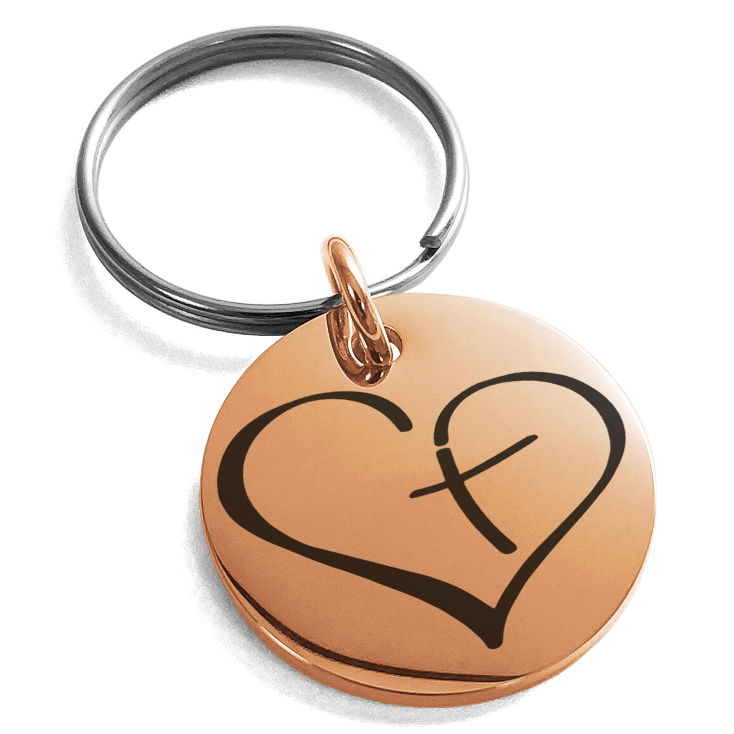 Tioneer Rose Gold Plated Stainless Steel Cross My Heart Engraved Small Medallion Circle Charm Keychain Keyring