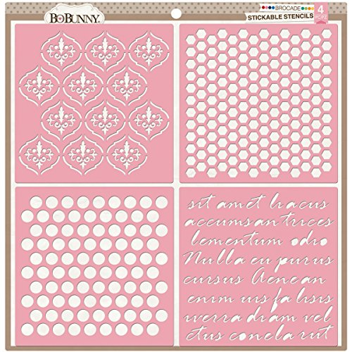 Bo Bunny Stickable Stencil, 12 by 12-Inch, Brocade