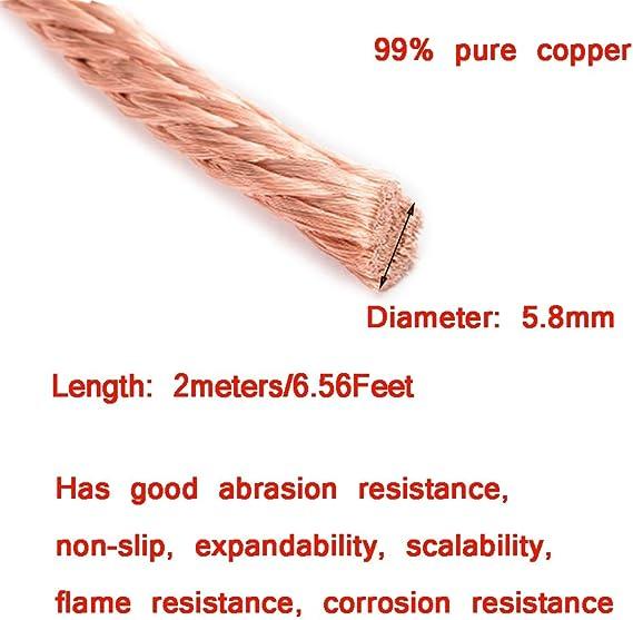 XMRISE Cable de Drenaje de Alambre de Cobre Trenzado El/éctrico Trenzado Redondo Espiral Desnudo Tierra Flexible Conductores Conductores de 10 m,2.5#Diameter:2.5mm//0.1inch