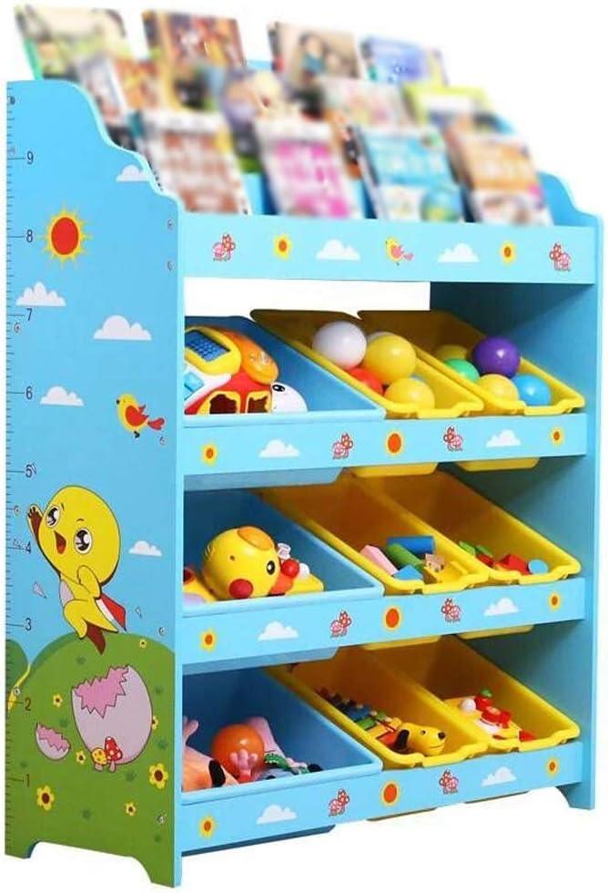 子供用おもちゃ収納ラック ブループレイオルグナイザーボックスディスプレイ子供本棚本棚玩具収納キャビネット用プレイルーム寝室 おもちゃ箱 ラック (Color : Blue, Size : 83*30*100cm)