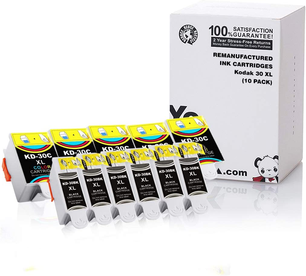 YoYoInk Compatible Ink Cartridges Replacement for Kodak 30XL 30 Series (5 Black, 5 Color; 10-Pack)