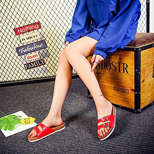 Sk Studio Damen Pantoletten Flach Kork Hausschuhe Sommer Sandalen Rot