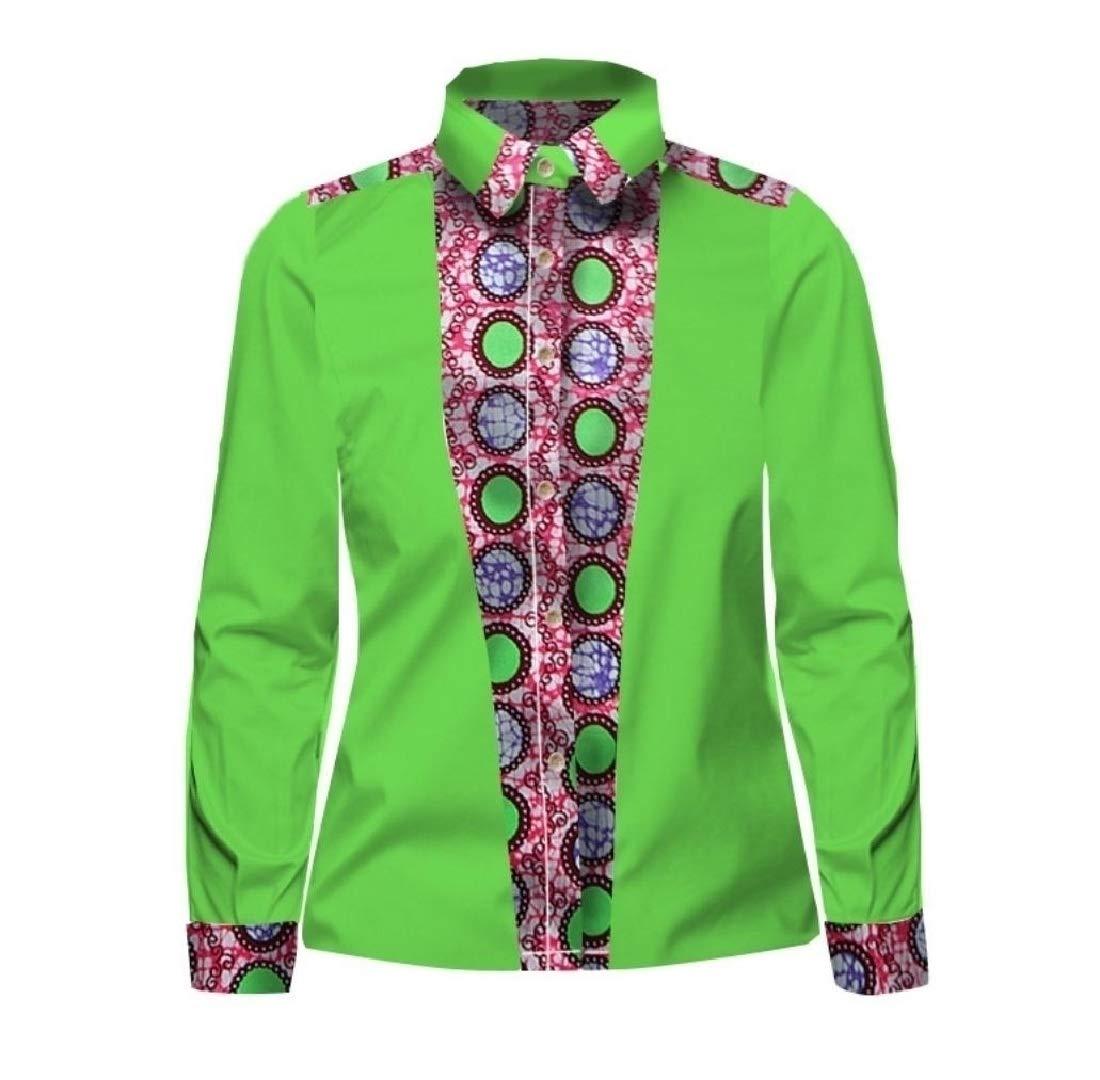Doufine Mens African Print Tops Slim Fitting Oversized Splice Batik Shirt One 2XL