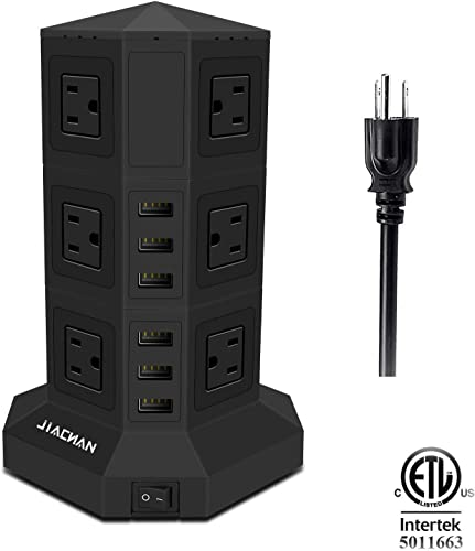 Power Strip Tower, Surge Protector Charging Tower with 12 AC Outlets and 6 Ports USB 2500W Black