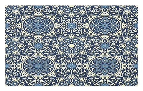 Lunarable Arabian Doormat, Floral Antique Tile Pattern in Delicate Old Fashioned Ornamental Artistic Print, Decorative Polyester Floor Mat Non-Skid Backing, 30 W X 18 L inches, İndigo Cream by Lunarable