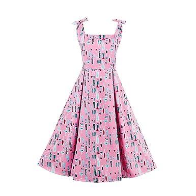 iBaste Moda Vintage Vestido Lazada Tirante Vestido Fino Impresión ...