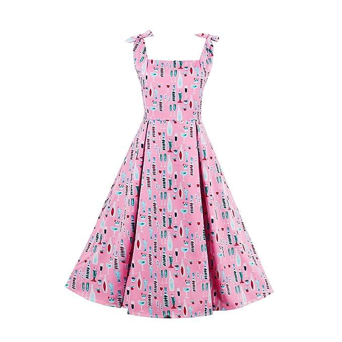 iBaste Moda Vintage Vestido Lazada Tirante Vestido Fino Impresión Personalizada Rosa Fresco Falda con Vuelo