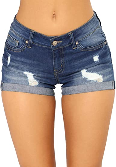 Blostirno Women's Denim Shorts Cuffed Short Jeans Pants at Amazon Women's  Clothing store