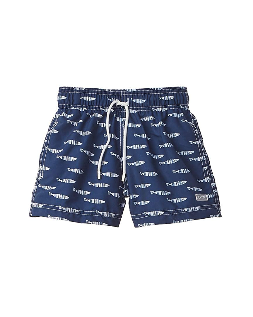 2Y Navy Azul Boys Swimwear Stripe Fish Swim Short