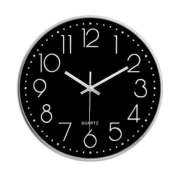 Foxtop Reloj de pared silencioso moderno decoración para el hogar, 30 cm (Plata): Amazon.es: Hogar