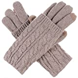 BYOS Women Winter Wool Blend Leafy Texting Knit Gloves W/Two Fingertips Conductive Tech for All Touch-Screen Devices Smartphone & Tablet (Khaki Double Layer Cable)
